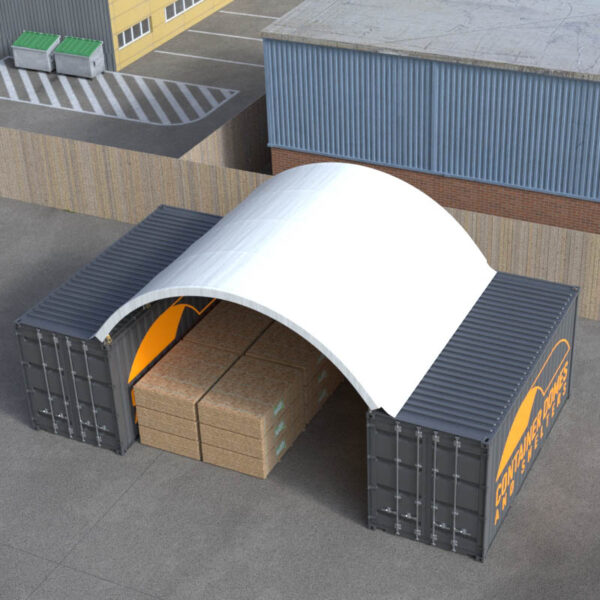 20ft x 20ft Container Dome Top Perspective View
