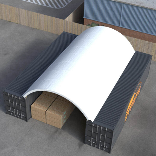 20ft x 40ft Container Dome Top Perspective View