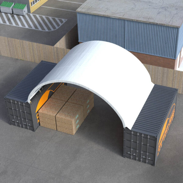 26ft x 20ft Container Dome Top Perspective View