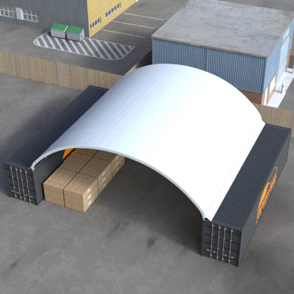40ft x 40ft Container Dome Top Perspective View