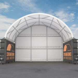 26ft x 20ft Container Dome with Back Wall Front View