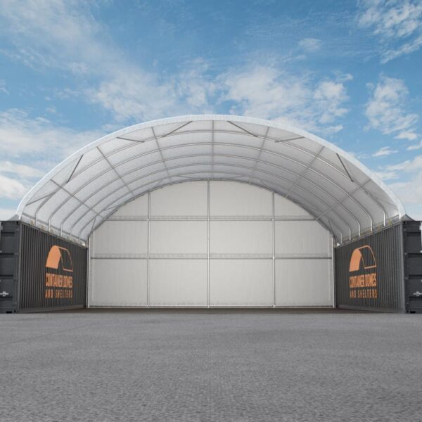 40ft x 40ft Container Dome with Back Wall Front View
