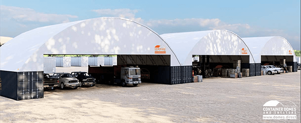 Half Banner 3x 60x40 Container Domes